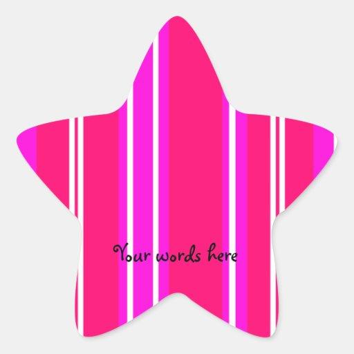 Rayas rosadas y blancas pegatina en forma de estrella