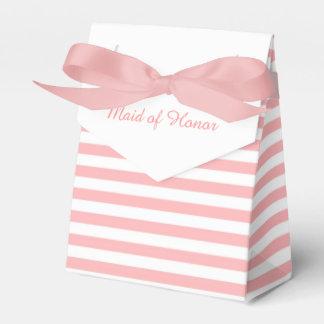 Rayas rosadas y blancas personalizadas casando caja para regalos