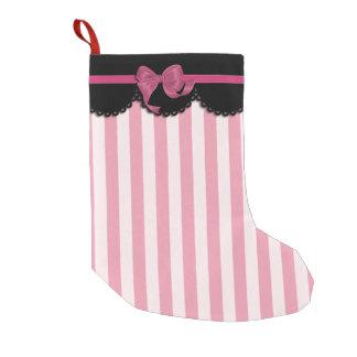 Rayas rosadas y cordón negro bota navideña pequeña
