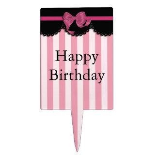 Rayas rosadas y cordón negro decoraciones para tartas
