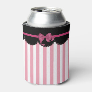 Rayas rosadas y cordón negro enfriador de latas
