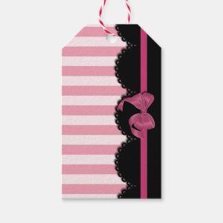 Rayas rosadas y cordón negro etiquetas para regalos