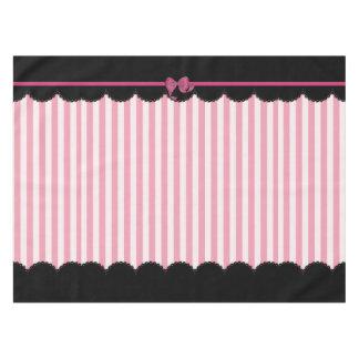 Rayas rosadas y cordón negro mantel