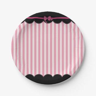 Rayas rosadas y cordón negro platos de papel