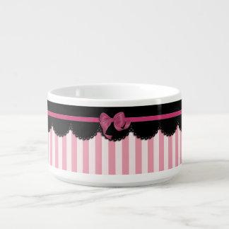 Rayas rosadas y cordón negro tazón