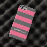 Rayas rosadas y grises vibrantes del rugbi con funda de iPhone 6 tough