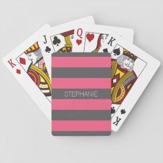 Rayas rosadas y grises vibrantes del rugbi con cartas de póquer