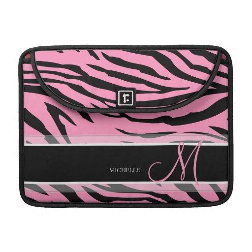 Rayas rosadas y negras de Bubblegum personalizado  Fundas Para Macbook Pro