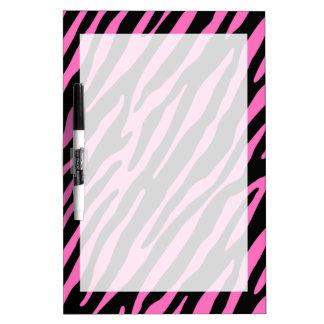 Rayas rosadas y negras de la cebra Estampado de a Pizarras Blancas