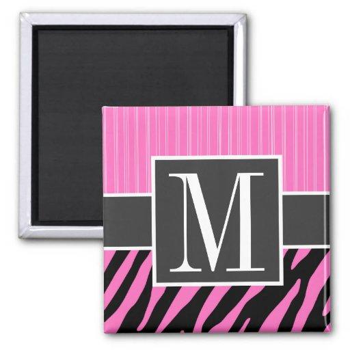 Rayas rosadas y negras de moda de la cebra imán para frigorifico