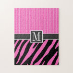 Rayas rosadas y negras de moda de la cebra puzzle con fotos