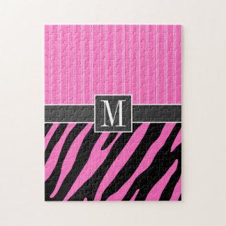 Rayas rosadas y negras de moda de la cebra puzzle