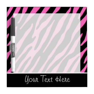 Rayas rosadas y negras lindas de la cebra tablero blanco
