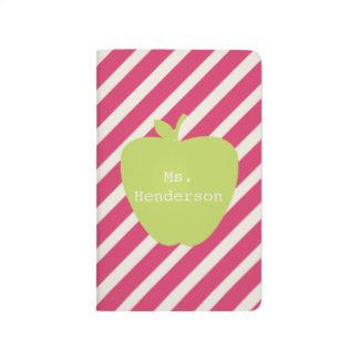 Rayas rosadas y profesor verde de Apple Cuadernos Grapados