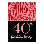 Rayas rosadas y rojas de la cebra - 40.o invitacion personalizada