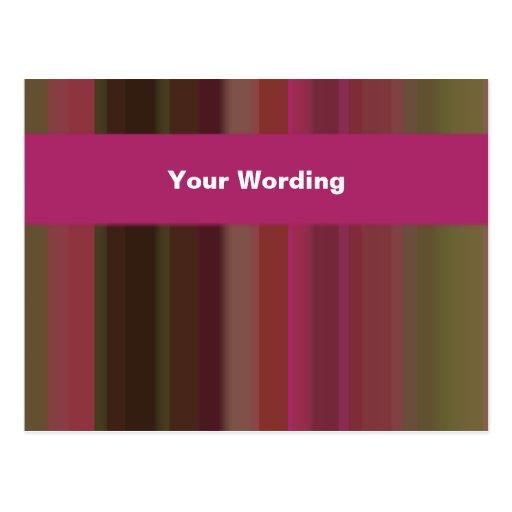 Rayas rosadas y verdes de moda - personalizable tarjeta postal
