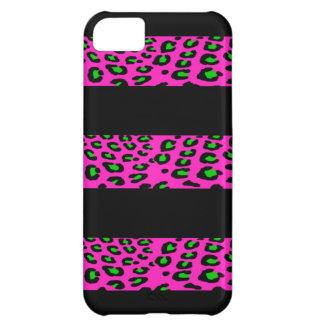 Rayas rosadas y verdes del leopardo funda para iPhone 5C