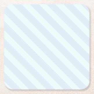 Rayas suavemente verdes y azules - práctico de posavasos personalizable cuadrado