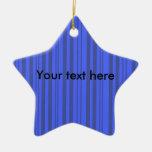 Rayas transparentes grises y azules modernas ornamentos de navidad
