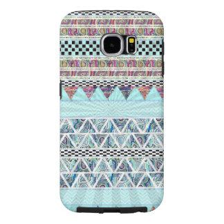 Rayas tribales Starburst de Boho de los azules Fundas Samsung Galaxy S6