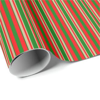 Rayas tricoloras en el navidad rojo, verde y oro papel de regalo