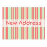 Rayas verdes anaranjadas de la nueva dirección postales