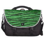 Rayas verdes claras de la cebra del brillo bolsas de portatil