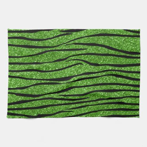 Rayas verdes claras de la cebra del brillo toalla de mano