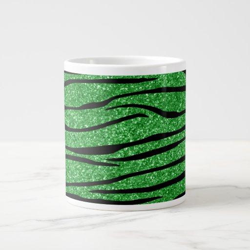 Rayas verdes claras de la cebra del brillo tazas jumbo