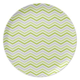 Rayas verdes claras, grises, y blancas de Chevron Plato De Comida