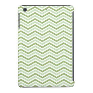 Rayas verdes claras y blancas de Chevron Funda De iPad Mini