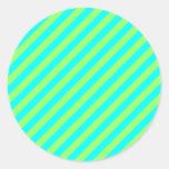 Rayas verdes claras y de la aguamarina de la diago etiqueta redonda