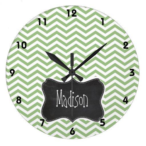 Rayas verdes de Chevron del laurel; Mirada de la p Reloj Redondo Grande
