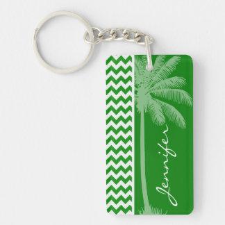 Rayas verdes de Chevron Palma del verano Llaveros