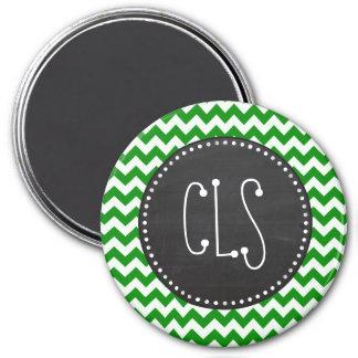 Rayas verdes de Chevron; Pizarra del vintage Imán Para Frigorifico