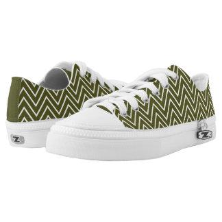 Rayas verdes de color caqui del zigzag de Chevron Zapatillas