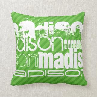 Rayas verdes de encargo y perfil de nombre de almohada