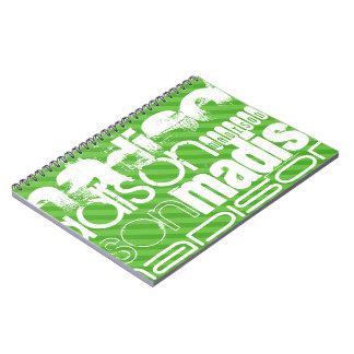 Rayas verdes de encargo y perfil de nombre de libreta espiral