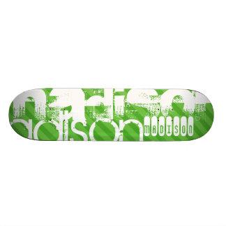Rayas verdes de encargo y perfil de nombre de patin