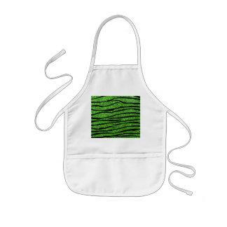 Rayas verdes de la cebra del brillo delantal infantil