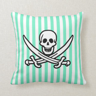 Rayas verdes de Seafoam del Aquamarine; Pirata Cojín
