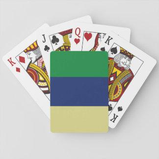 Rayas verdes, del azul y del limón barajas de cartas