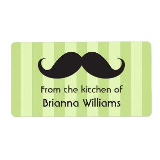 Rayas verdes del bigote de la cocina de etiquetas etiqueta de envío