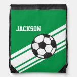 Rayas verdes del fútbol mochilas