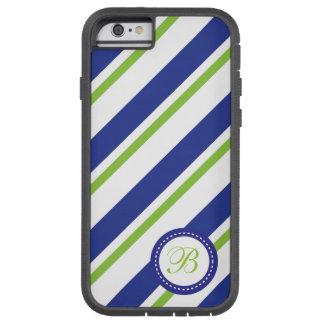 Rayas verdes del monograma, azules y blancas funda para  iPhone 6 tough xtreme