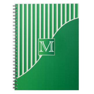 Rayas verdes del monograma/blancas sofisticadas spiral notebook