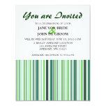 Rayas verdes frescas invitación 10,8 x 13,9 cm
