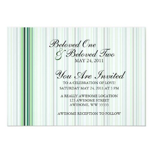 Rayas verdes frescas invitación 12,7 x 17,8 cm