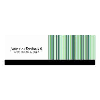 Rayas verdes frescas tarjetas personales
