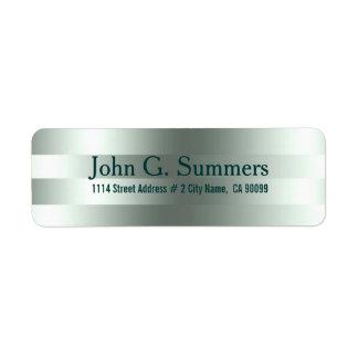 Rayas verdes metálicas modernas elegantes del etiqueta de remite